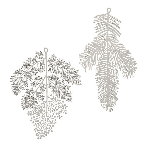 Delicate silver holiday ornaments