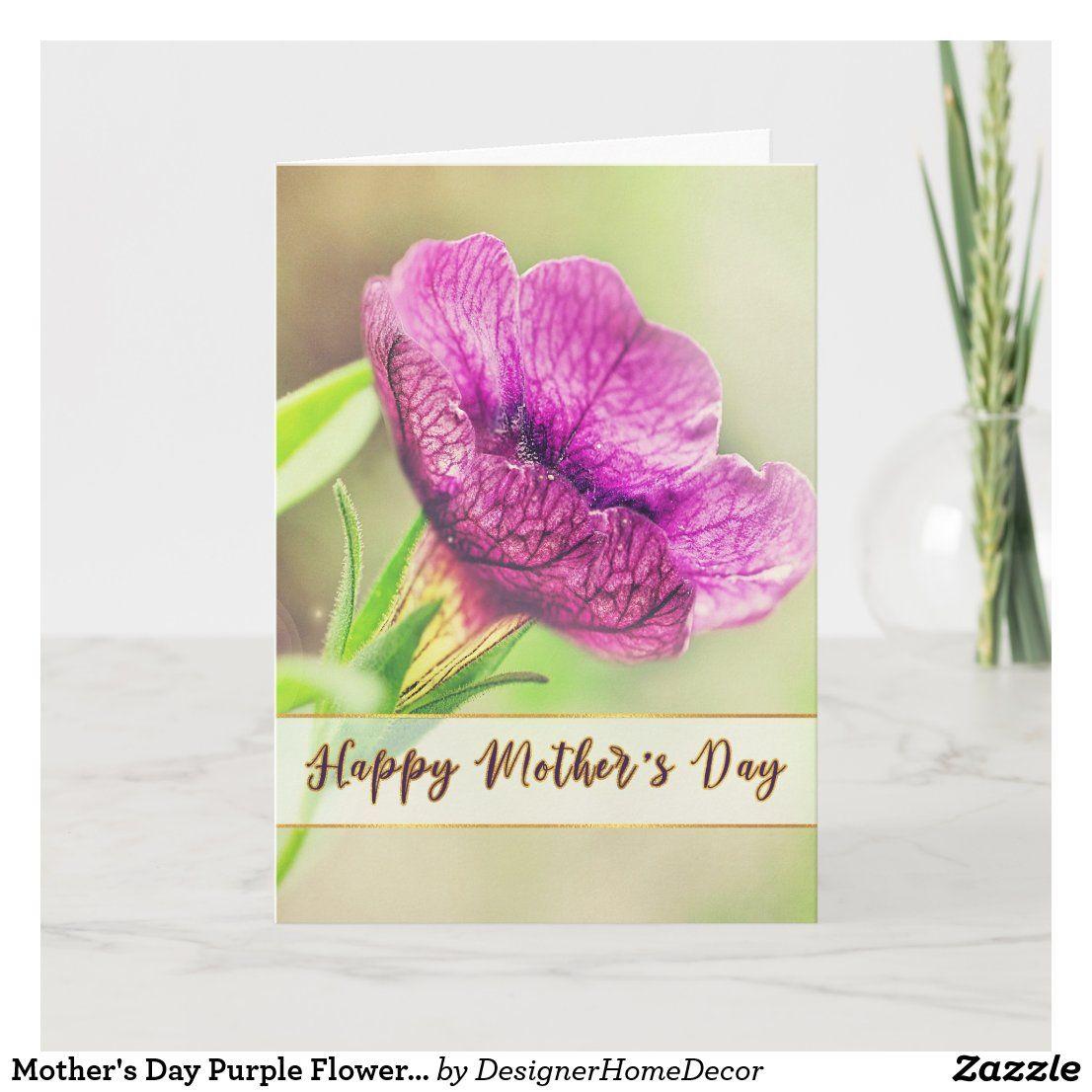 Mother S Day Purple Flower Gold Foil Lettering Card Zazzle Com Purple Flowers Purple Cards Mothers Day