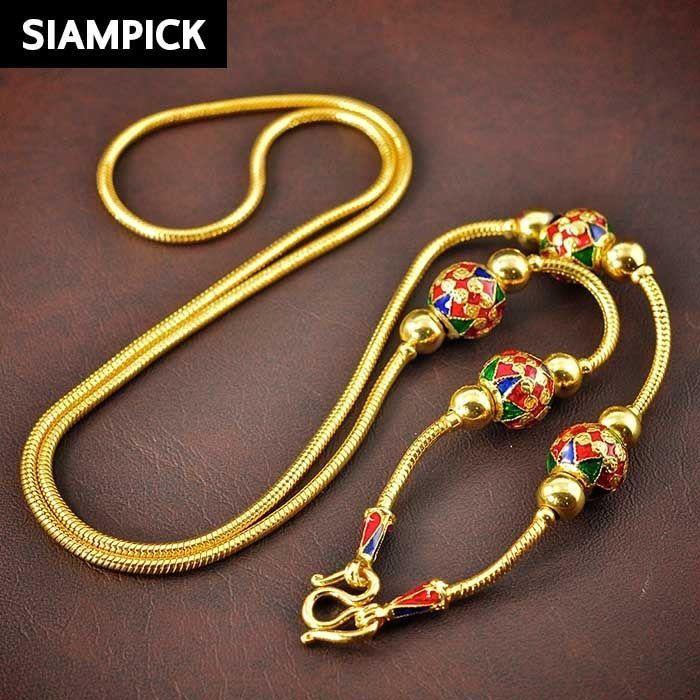 24 Enamel Thai 22k 24k Yellow Gold Baht GP Bead Chain Necklace