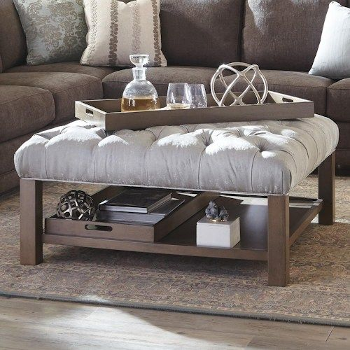Accent Ottomans Cocktail Ottoman With Button Tufting And Storage Trays By Craftmaster At Turk Furniture Ottoman Decor Hudson Furniture Home Living Room