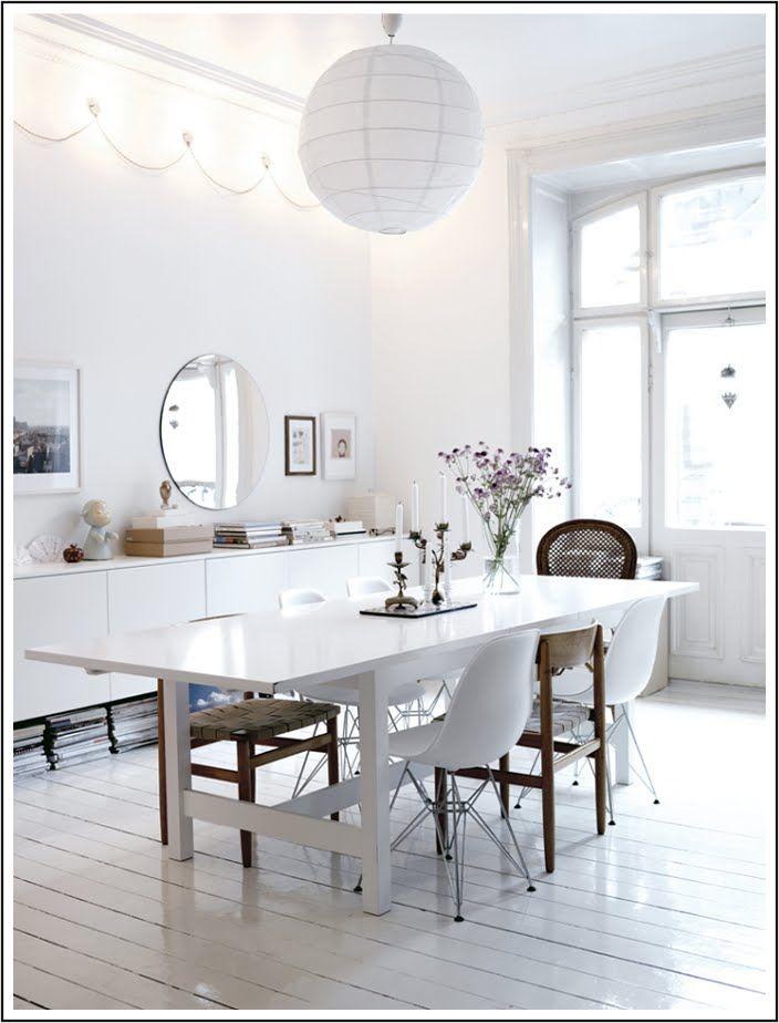 Comedor diseño interior blanco lámpara de papel | Mindo.cl Lámparas ...