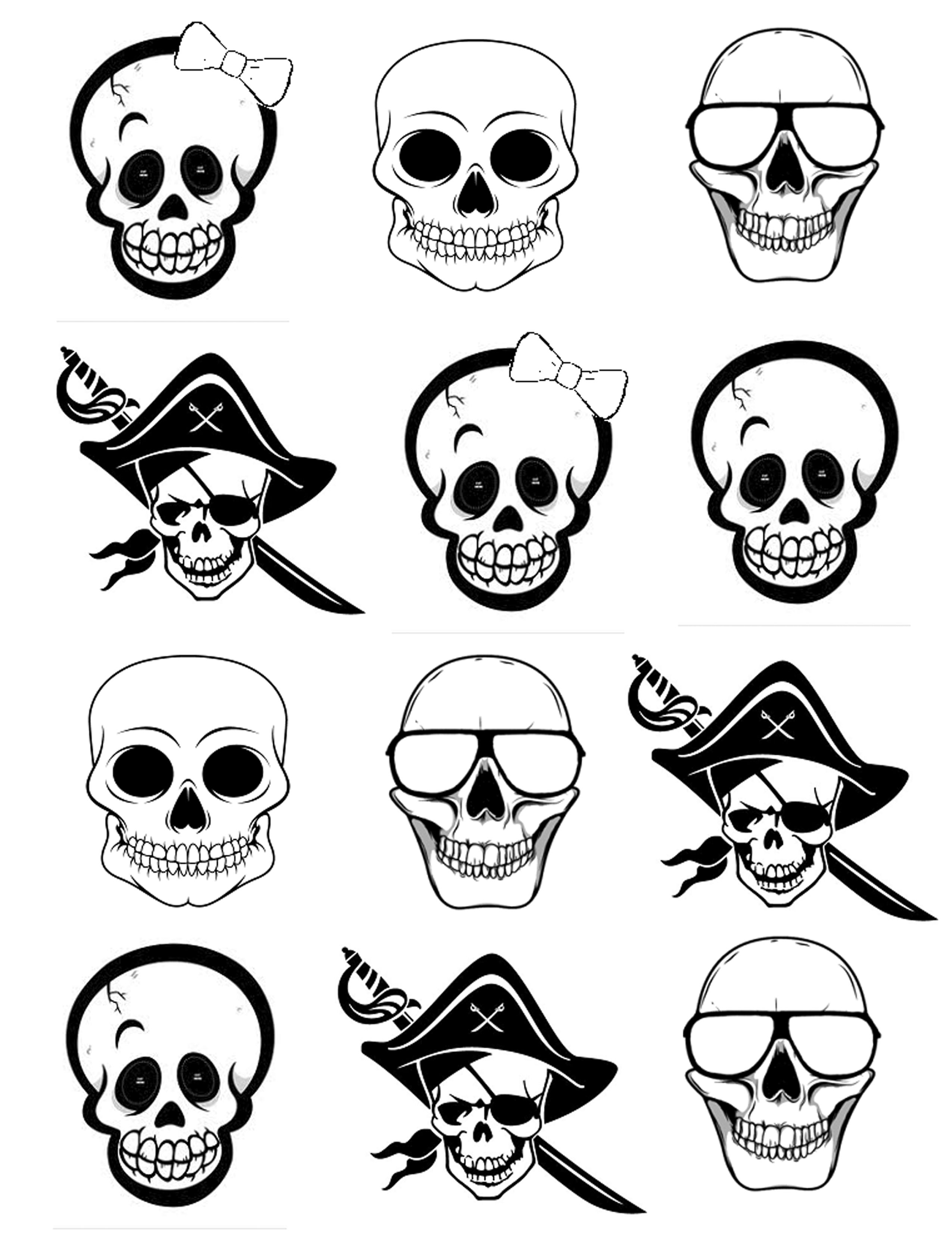 Skeleton Faces for Q-Tip Skeletons - Each kid can make their own skeleton to