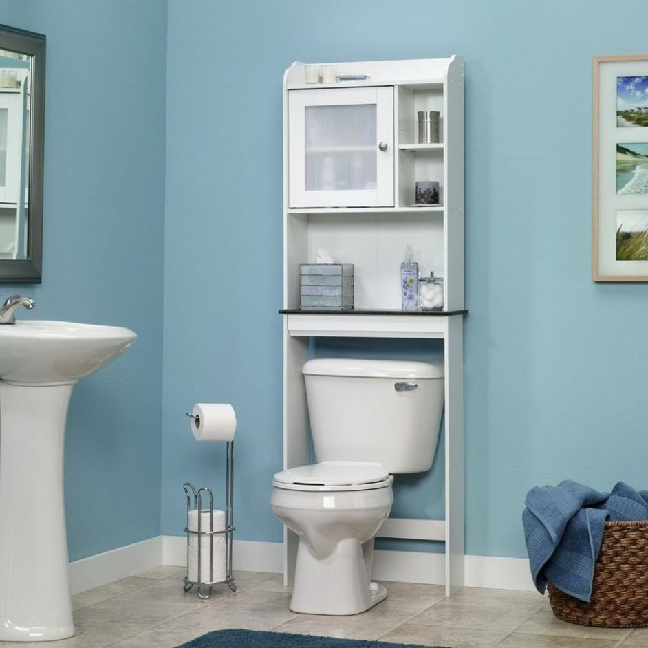 Fabulous sauder bathroom shelf in charming sky blue bathroom ...