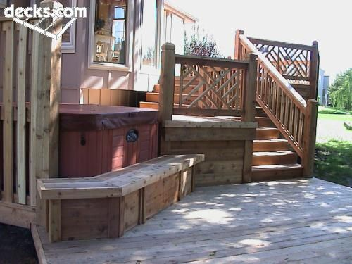 Small Deck Leading To A Somewhat Hidden Hot Tub Hot Tub Deck
