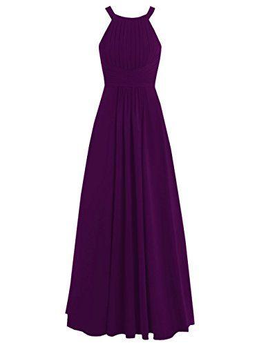 Dresstells® Long Chiffon Halter Neck Prom Dress with Straps ...
