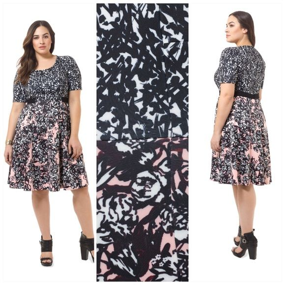 "Fit and Flare Combo Print Dress Scuba knit fit and flat dress with scoop neck and short sleeves. Attached belt. Abstract print bodice with floral print full skirt. Should to hem: 40.5"" Eloquii Dresses"