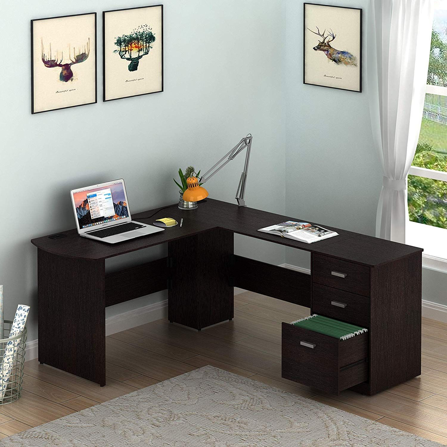 Shw L Shaped Home Office Wood Corner Desk With 3 Drawers Read More At The Image Link It Is An Affiliate Wood Corner Desk Home Office Furniture Corner Desk