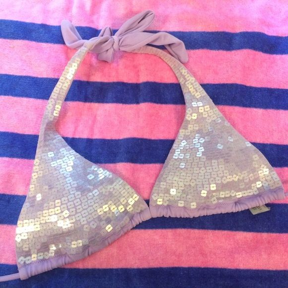 Lavender Sequined Bikini Top Sparkle, sparkle in this bikini top from Victoria Secret! Will throw in the bottoms for free- they have a few picks on the rear. Top and bottom are size S. Victoria's Secret Swim Bikinis