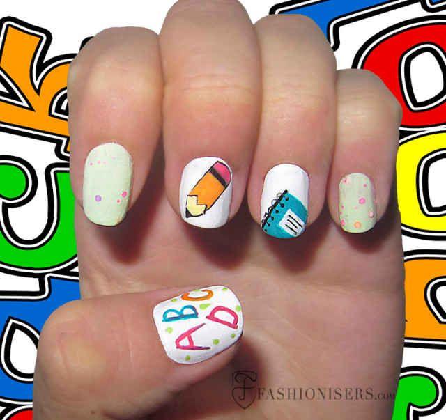 12 Cute Back To School Nail Art Designs | School nail art and School ...