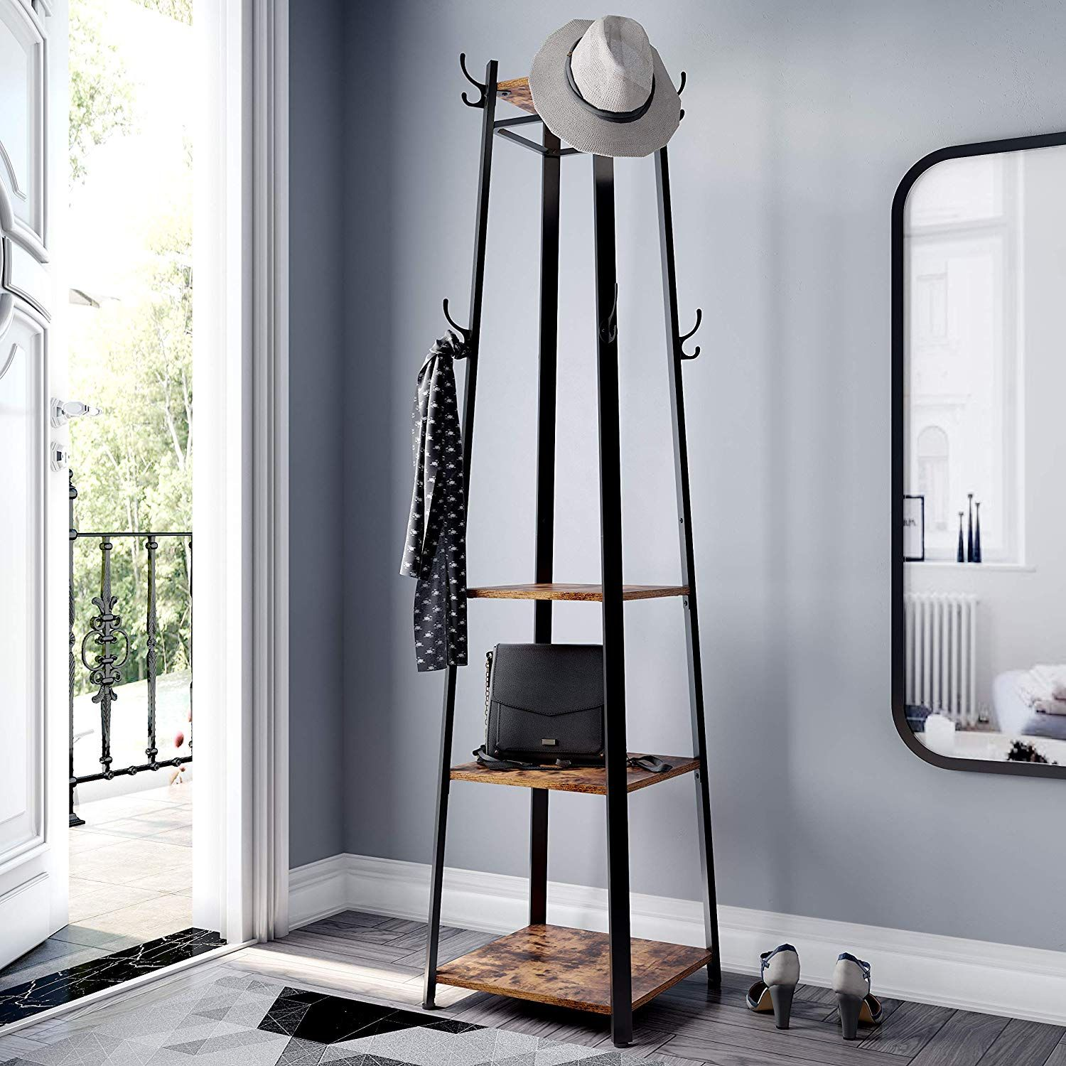 Two Birds With One Stone This Stylish Coat Rack Brings A Vintage Touch To Your Entrance While At The Same Time C Carbon Loft Industrial Coat Rack Coat Stands