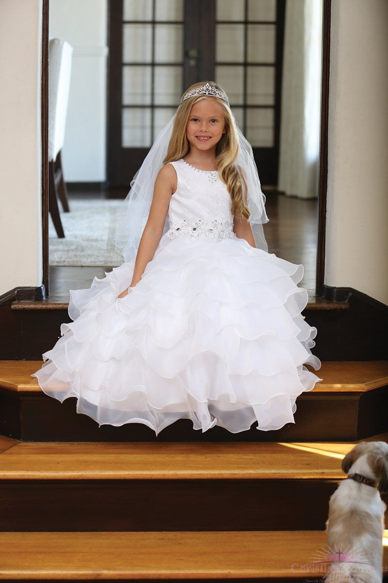 d6c3916b02d1 Modern Lace First Communion Dress with Layered Organza Ruffles ...