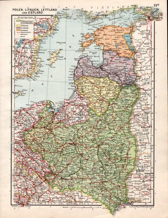 1926 Poland Lituania Latvia And Estonia Antique Map German Empire