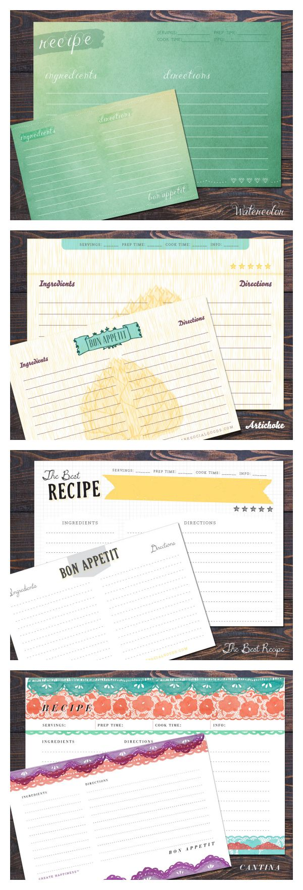 12 Double Sided Recipe Cards Createhappiness Recipe Cards Template Printable Recipe Cards Recipe Scrapbook