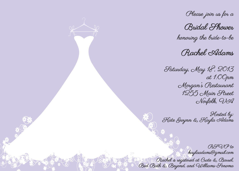 Printed Bridal Shower Invitation Lavender Wedding Gown Luncheon Tea