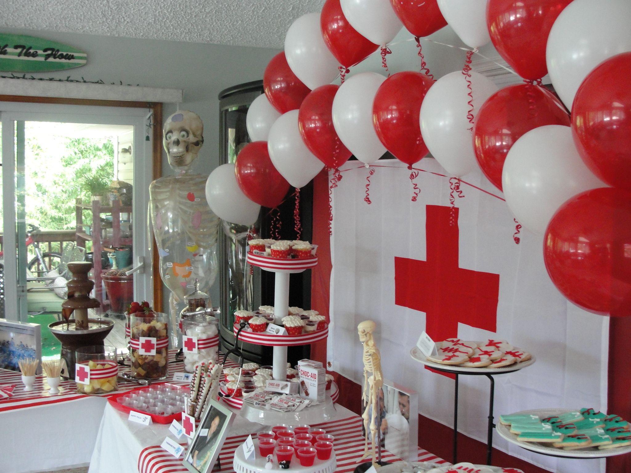Dessert table i like the backdrop doctor nurse medical