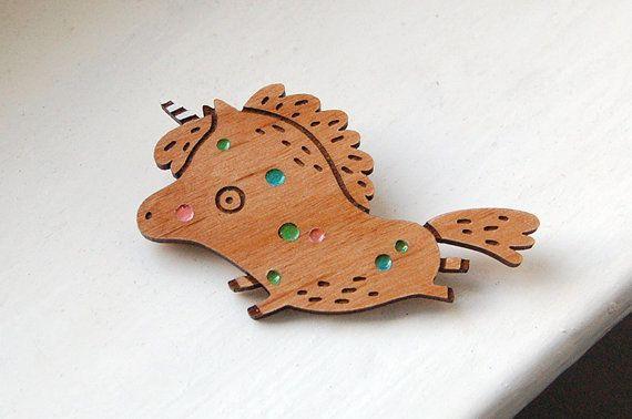 Party Unicorn wooden brooch by danadamki on Etsy
