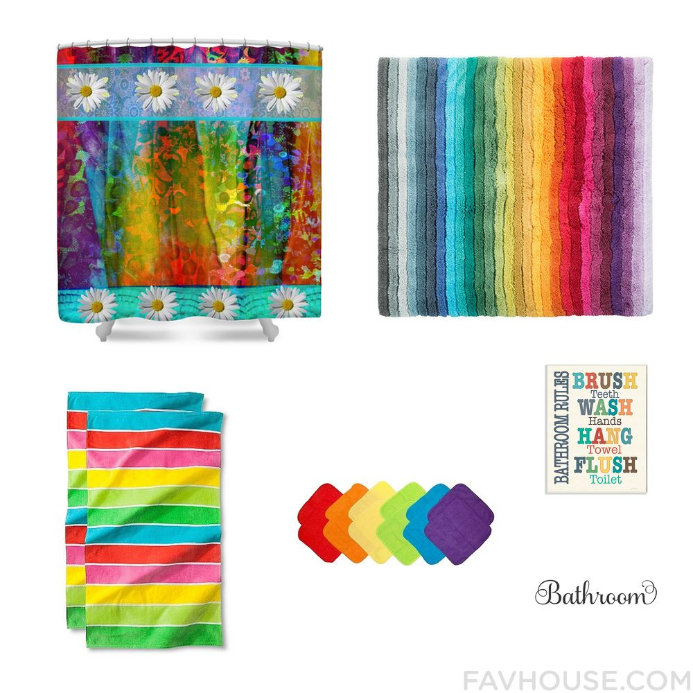 Gentil Decor Goods Including Shower Curtain Striped Bathroom Rug Beach Towel And Multi  Colored Bath Towel From May 2016