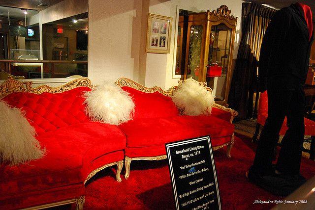 Elvis red Living Room furniture circa 1974 on display at Graceland by AleksandraR, via Flickr #Elvis #Graceland