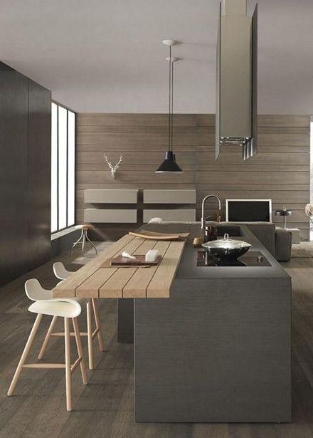 cuisine style chalet contemporain moderne et minimaliste avec ilot central pour pr parer les. Black Bedroom Furniture Sets. Home Design Ideas