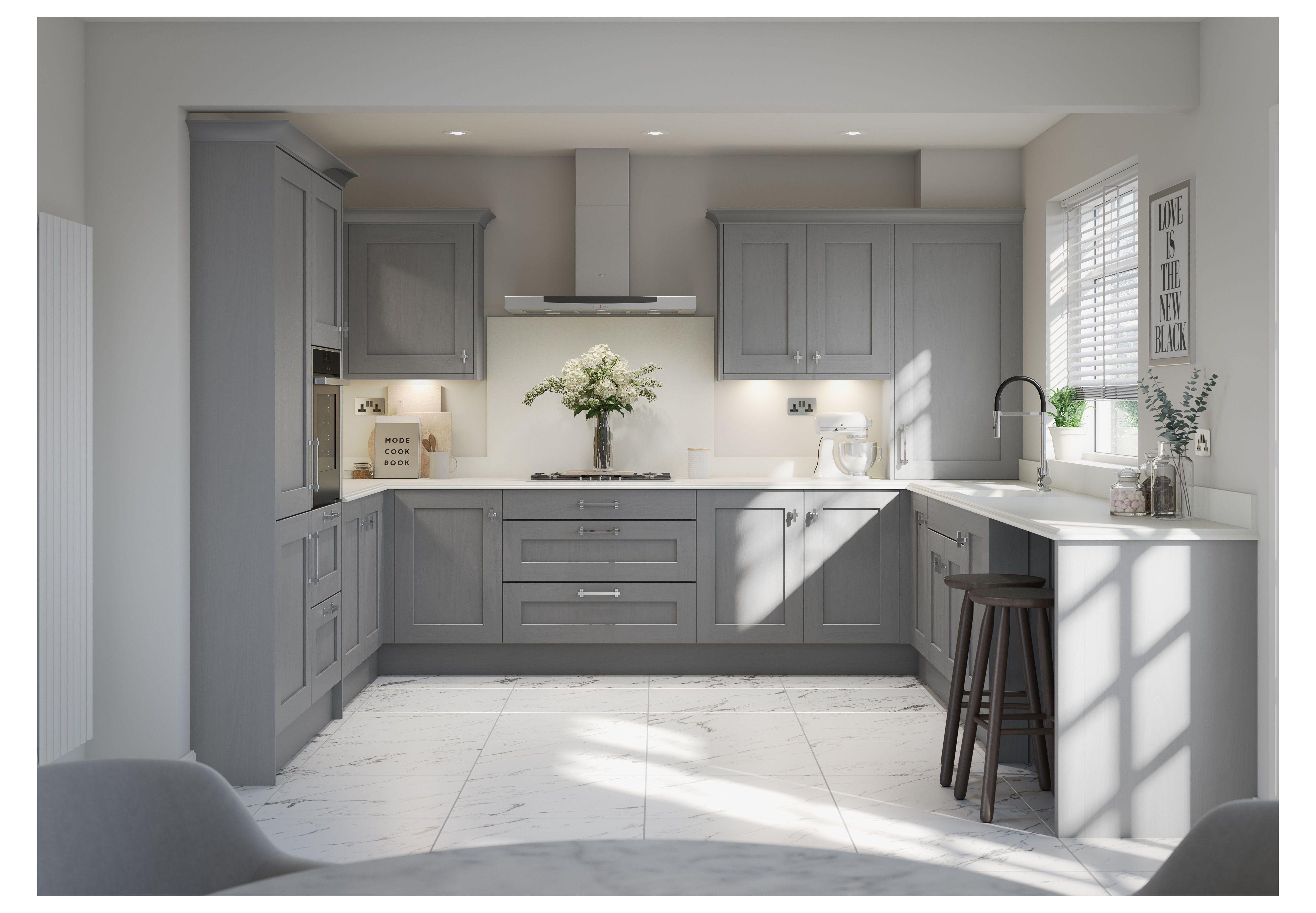 Second Nature's Mornington Shaker kitchen in Dust Grey kitchen ...