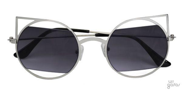 f82cca53f1748 Óculos De Sol Gatinha Redondo Vazado Com Lente Cortada Em Metal ...