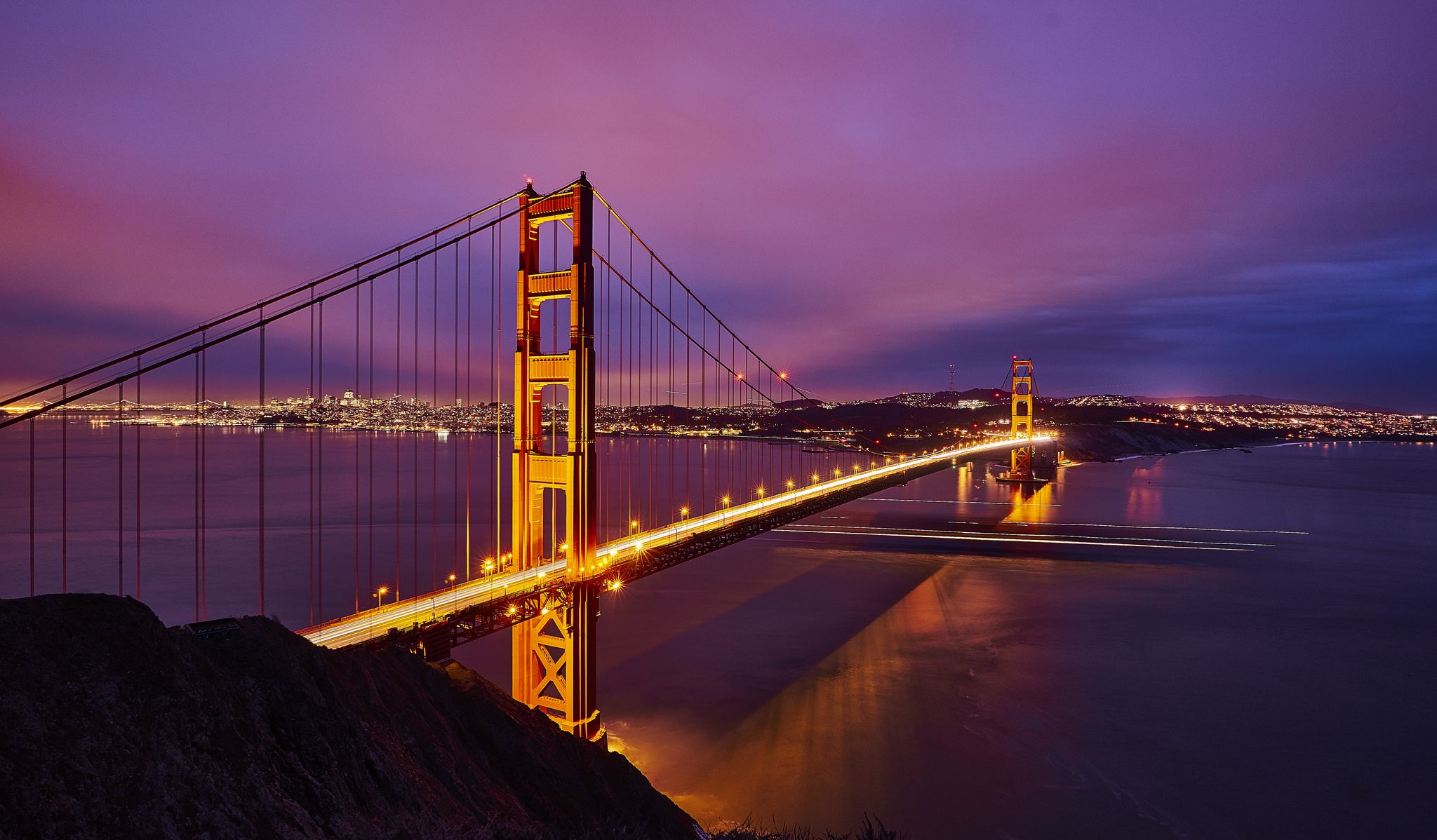Golden Gate Bridge By Night Golden Gate Golden Gate Bridge California Travel