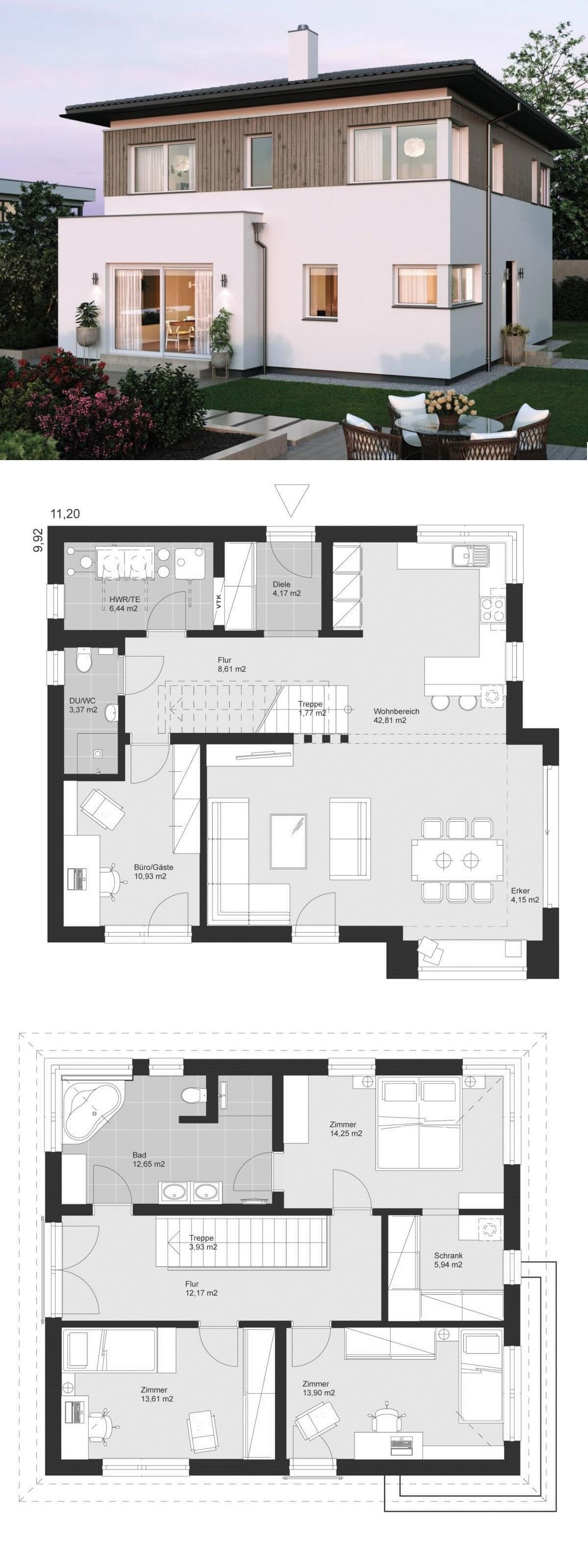 Moderne Stadtvilla ELK Haus 155 - ELK Fertighaus | HausbauDirekt #holzbauen