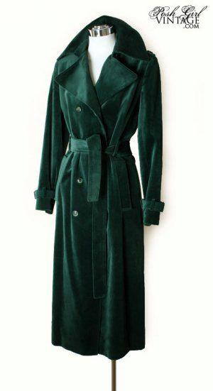 1970s emerald velvet vintage trench coat