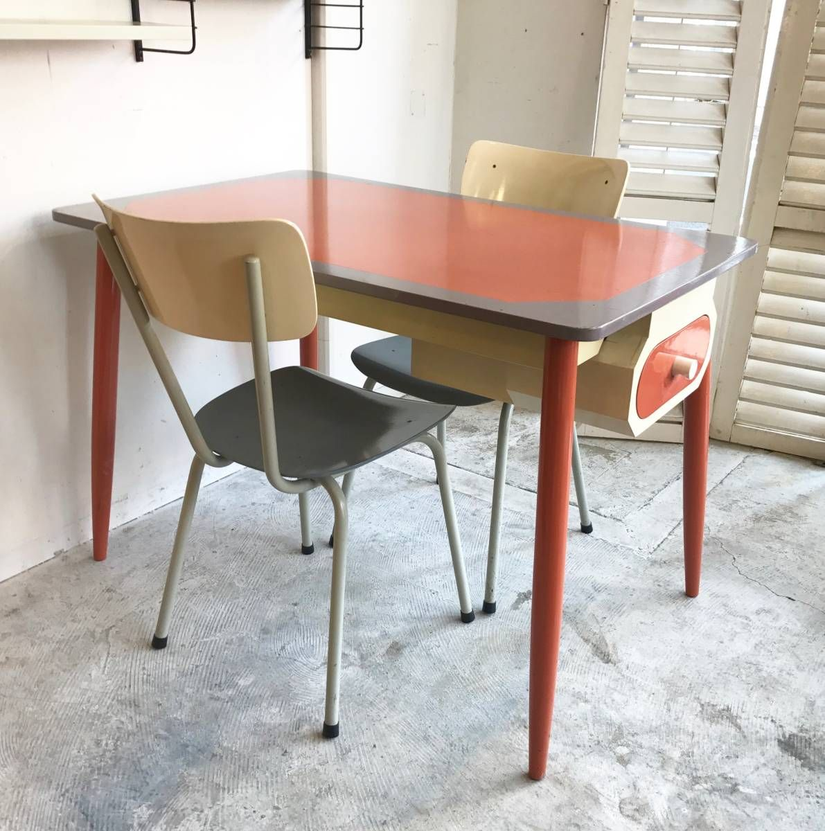 Paint Dining Table with Drawer オランダ ヴィンテージ 北欧 ダッチデザイン_画像1