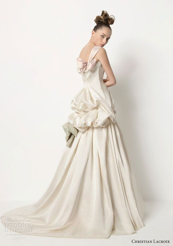 Lacroix For Rosa Clara 2017 Collection Tango Frothy Silk Satin Gown Accented With Bows Of Diffe Colors