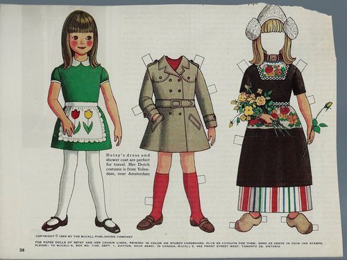 "1969 Vintage Betsy McCall ""Dutch Costume"" Paper Doll"