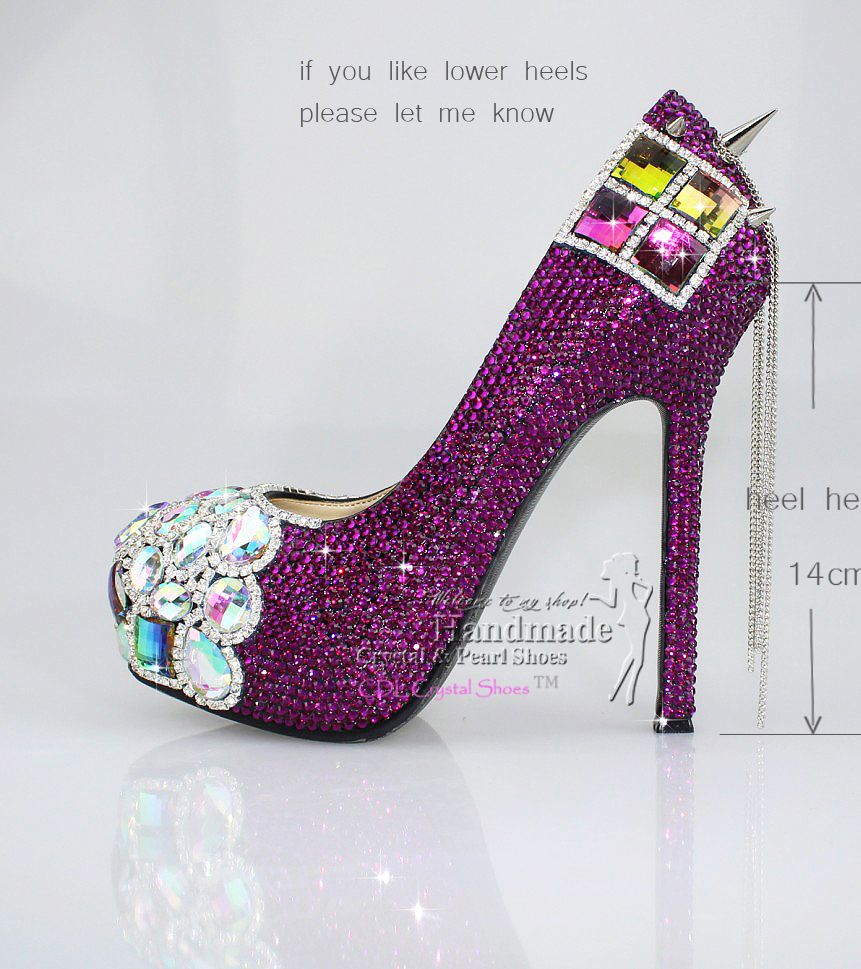 Custom Design Punk Rock SPIKES with Purple CRYSTAL Sexy HIGH HEEL ...
