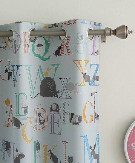 Best Home Fashion Blue Alphabet Room Darkening Grommet Top Curtain ...