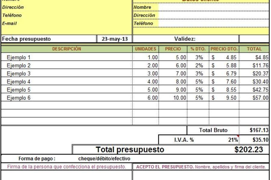 Planilla de excel para hoja de presupuesto excel pinterest for Presupuesto para una alberca