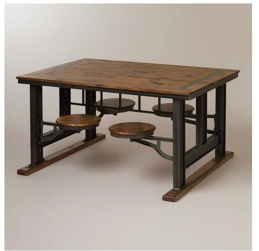 Very Unique Industrial Steampunk Dining Table With Swivel Stools