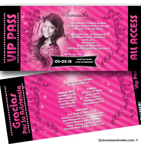 All Access Vip Pass Quinceanera Invitations | Quince ...