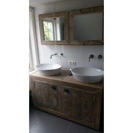 Badkamermeubel van steigerhout Neerkant - Spiegels - Badkamer ...