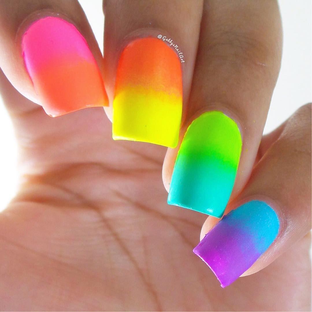 Neon Multicolor Ombre Nails