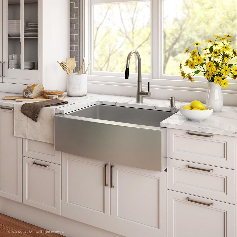 Kraus Farmhouse Apron Front Stainless Steel 33 In Single Basin