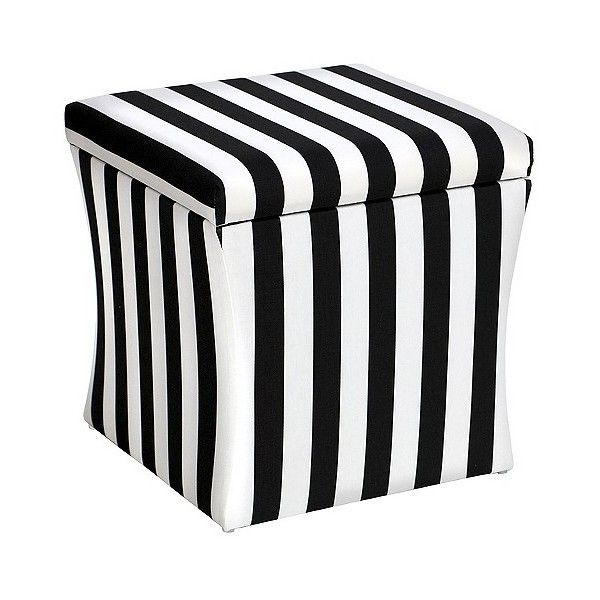 Marvelous Skyline Hourglass Storage Ottoman, Canopy Stripe Black And White ($134) ❤  Liked On