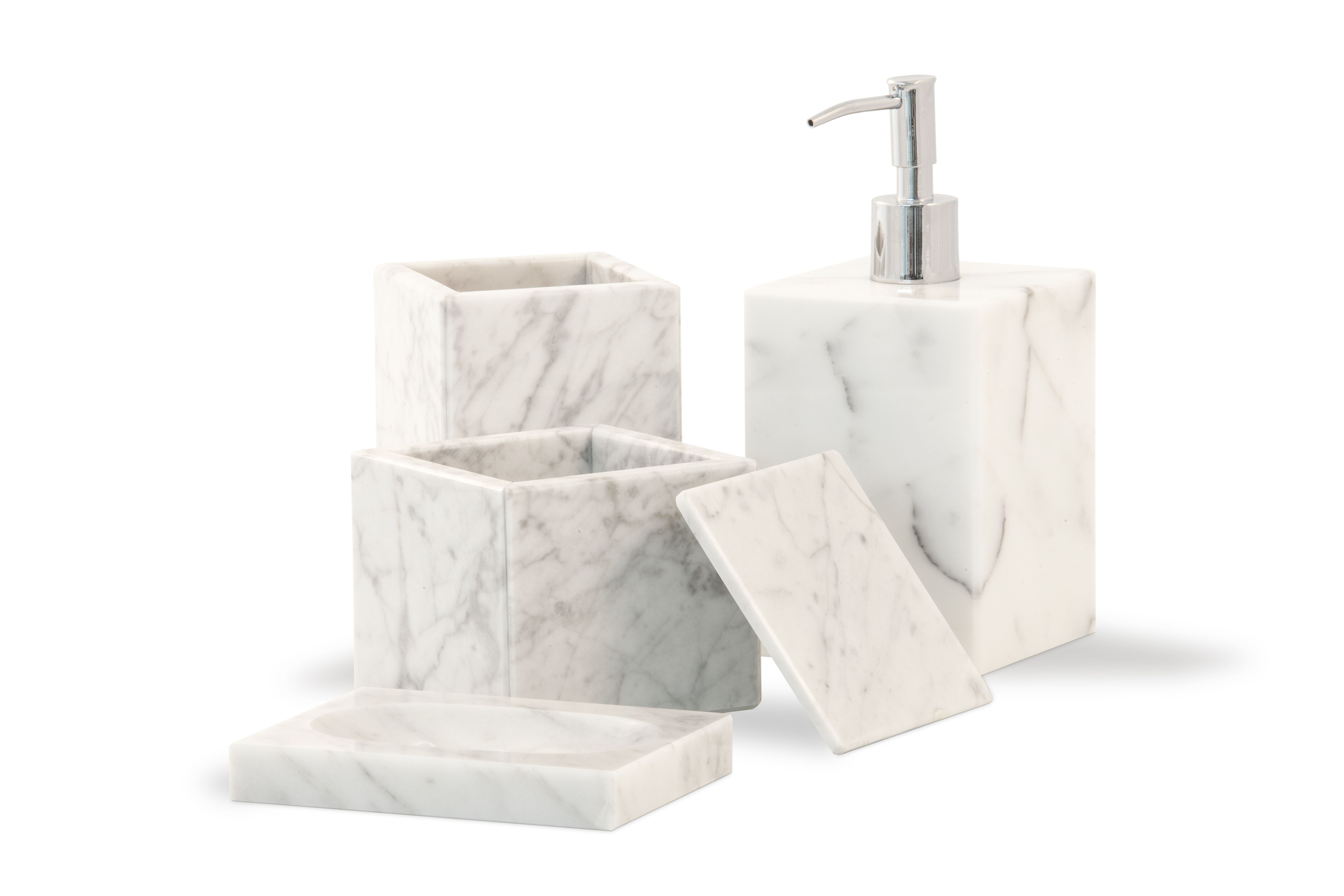 Bathroom Dispenser Set White Carrara Marble Bathroom Set Soap Dispenser Soap Dish