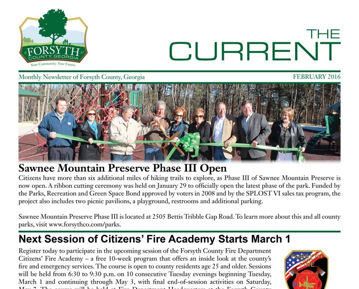 Phase III of Sawnee Mountain Preserve Now Open  January 29, 2016  New phase features more than six miles of trails - click here to view a map of the trails. About Sawnee Mountain Preserve... Read the February Edition of Forsyth County's Newsletter