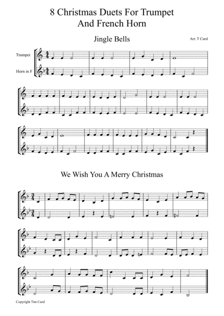8 Christmas Duets For Trumpet And F Horn Christmas Duets Digital Sheet Music Sheet Music
