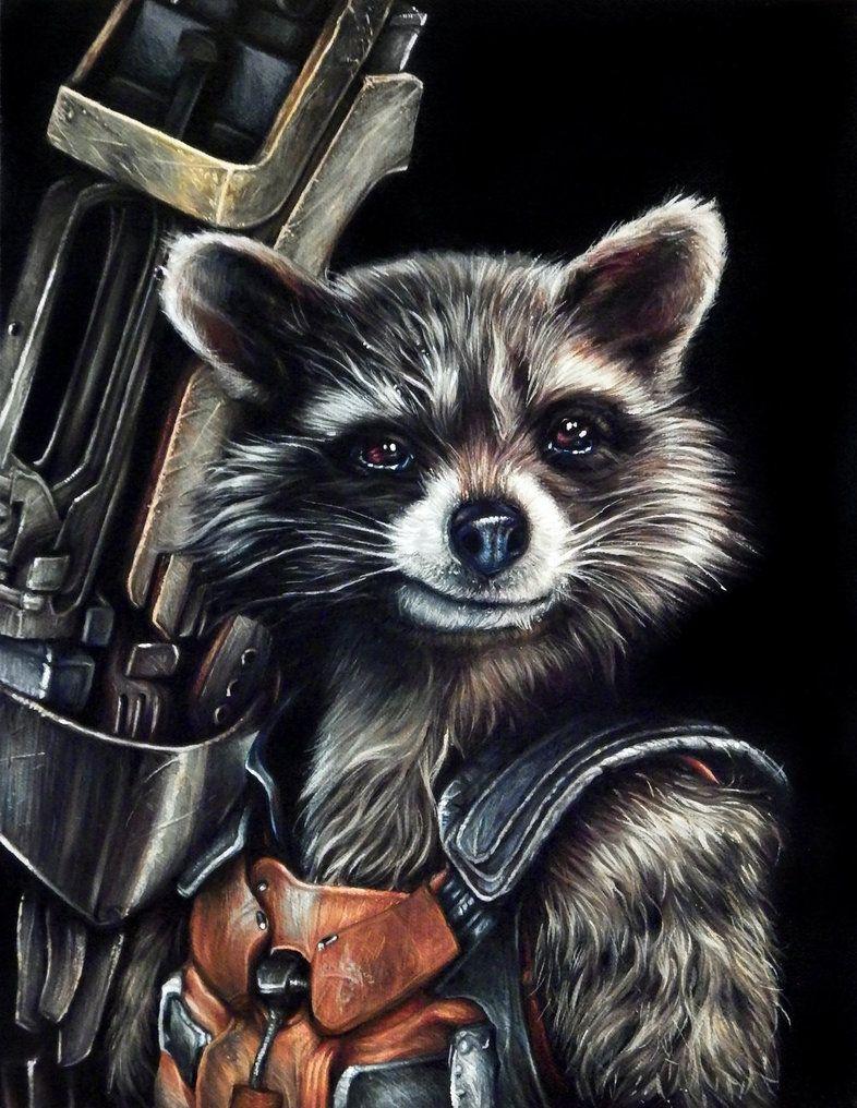 Rocket racoon portrait painting by benke33 my son 39 s - Rocket raccoon phone wallpaper ...