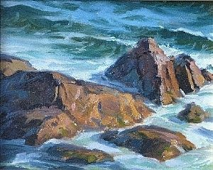 Rocks and Surf - Cape Breton Highlands national park by Tony Bianco Oil ~ 8 x 10