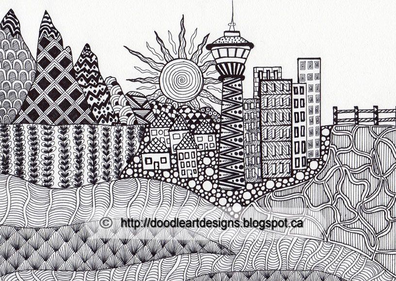 Zentangled Landscape Design Of Calgary Doodle Art Designs