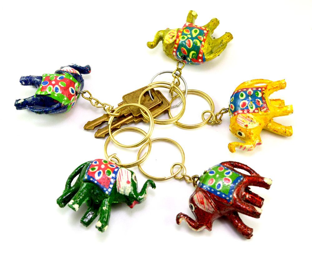 A Set Of 5 12pc Hand Carved Wooden Uk Elephant Key Ring Handmade