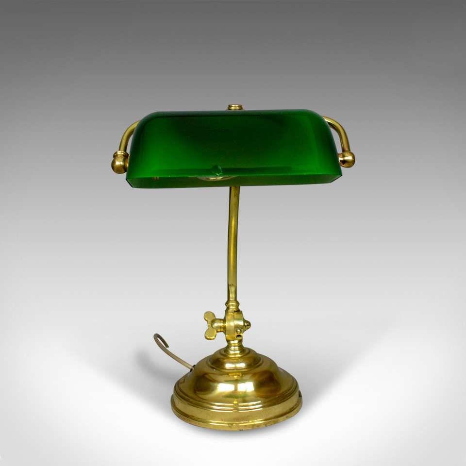 Antique Barristers Desk Lamp, Heavy, English, Brass, Glass Edwardian, circa 1910 #edwardianperiod