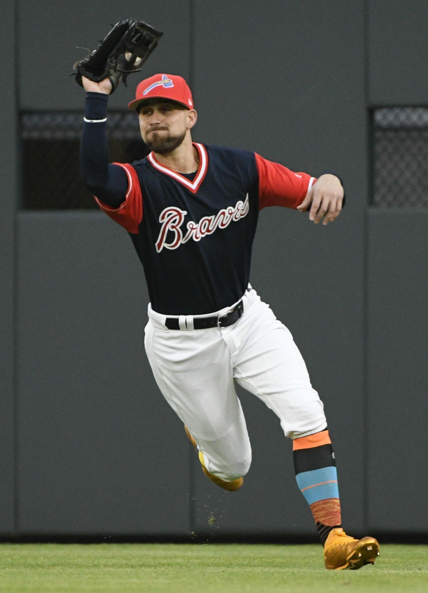 Atlanta Braves Center Fielder Ender Inciarte Catches A Fly Ball Hit By Colorado Rockies Gerardo Parra During The Atlanta Braves Braves Atlanta Braves Baseball