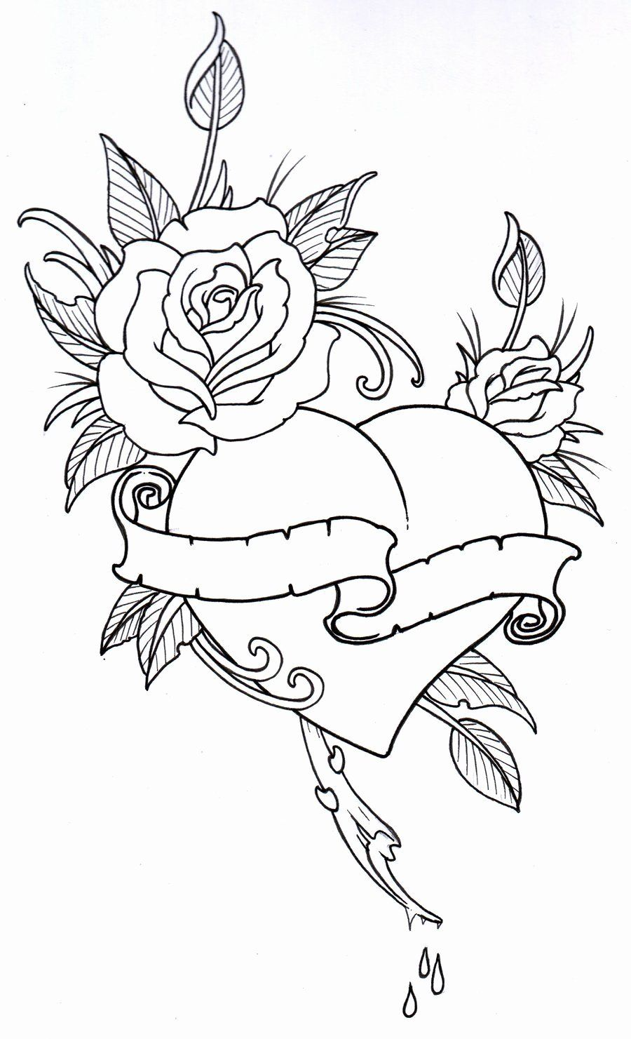 Tattoo Coloring Book Pages Beautiful Roseheart Outline 1 By Vikingtattooviantart On In 2020 Coloring Books Coloring Book Pages Coloring Pages